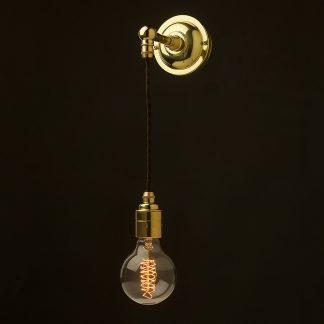 Straight arm wall pendant light polished brass