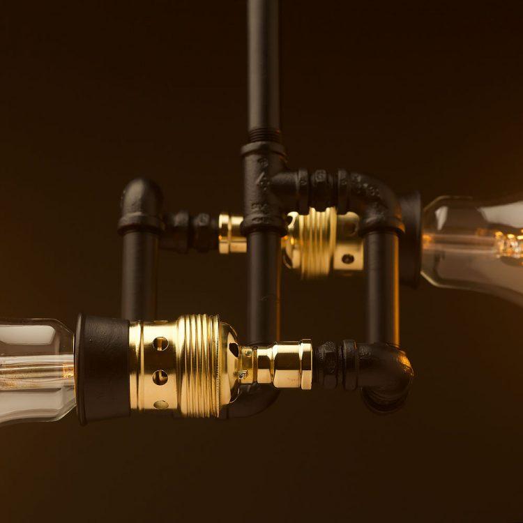 Galvanised plumbing pipe twin E40 opposing bulb light