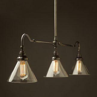 Bronze single drop Billiard Table Light glass cone