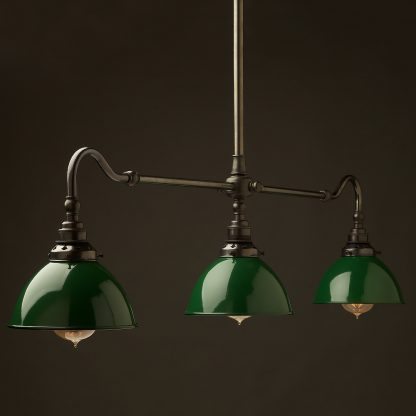 Bronze single drop Billiard Table Light green dome