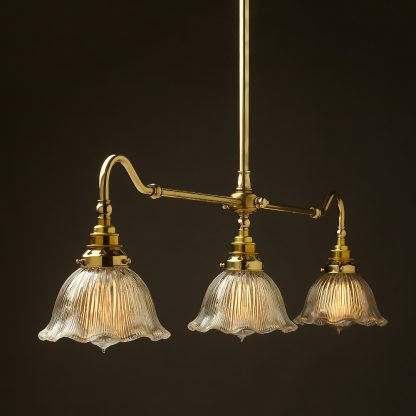 New Brass single drop Billiard Table Light fluted holophane