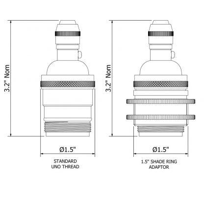 Brass E26 Cordgrip Pendant Socket dimensions
