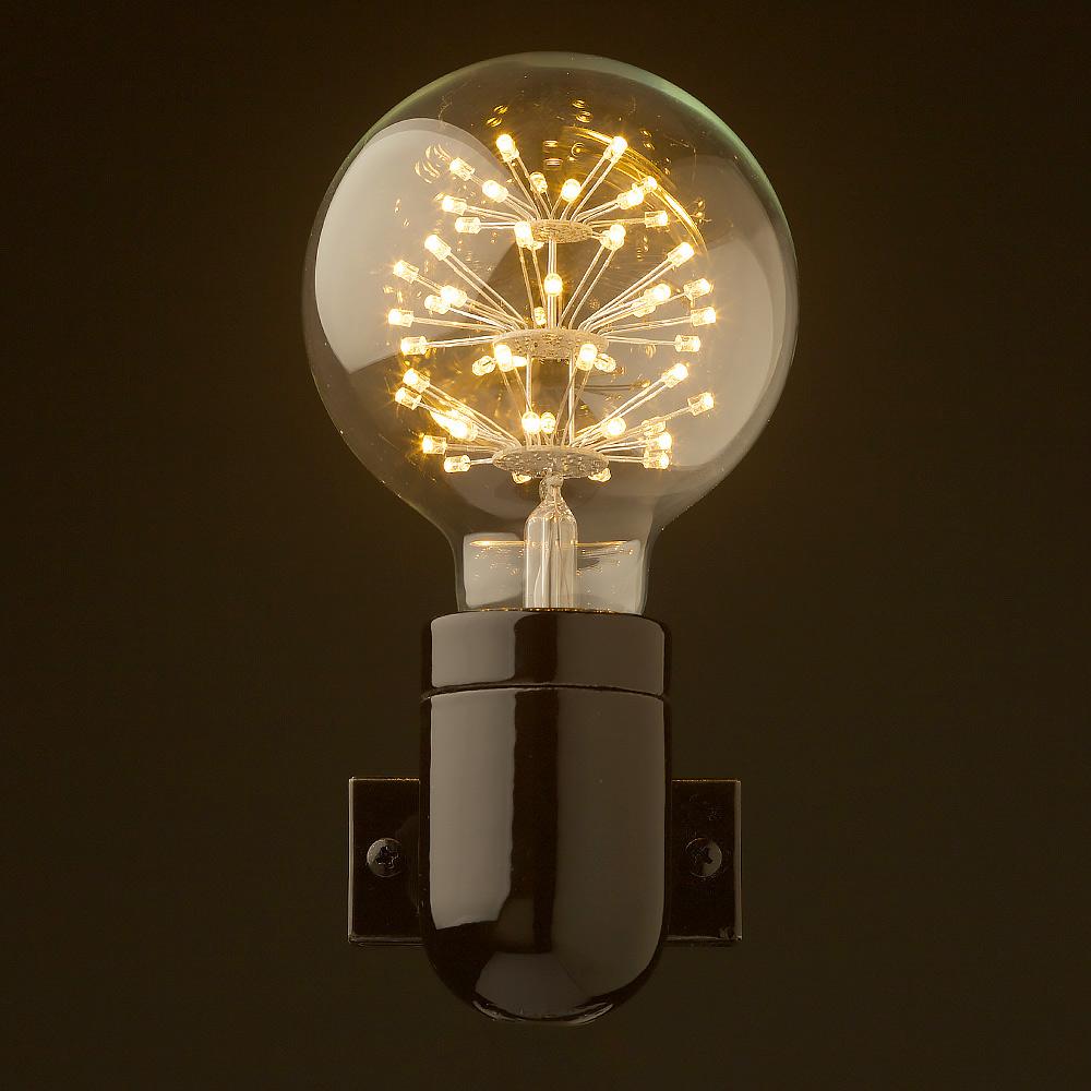 Black Porcelain E27 Wall Light Fitting Edison Globes Pty Ltd Fixture Wiring Diagram Front G95 Straw Hat