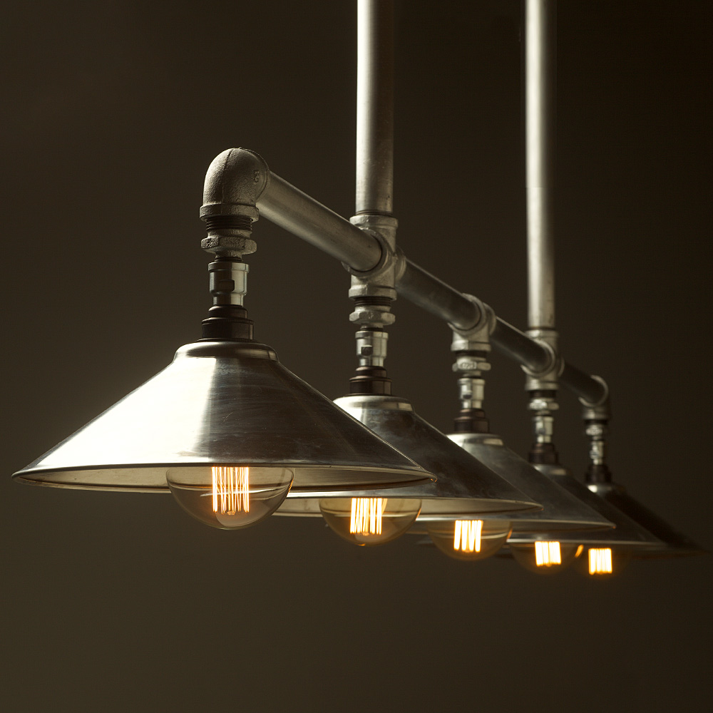Galvanised Plumbing Pipe Large Shade Long Table Light
