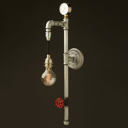 Galvanised plumbing pipe wall pendant no cage