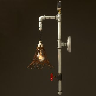 Galvanised plumbing pipe wall pendant rusted wire cage side