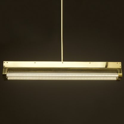 Polished brass twin LED tube office light side