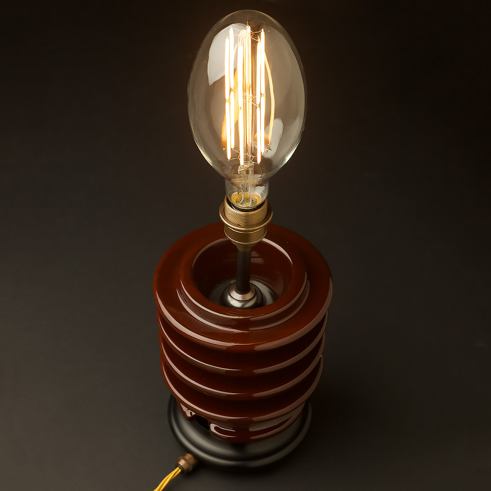 Vintage brown ceramic insulator table lamp • Edison Light Globes Pty Ltd