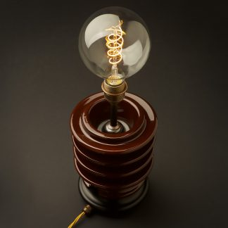 Vintage brown ceramic high tension insulator table lamp spiral LED G125