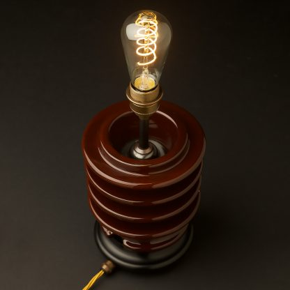Vintage brown ceramic high tension insulator table lamp teardrop spiral LED