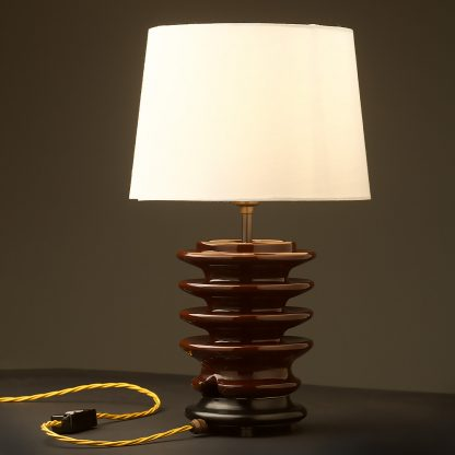 Vintage brown ceramic high tension insulator table lamp with shade example