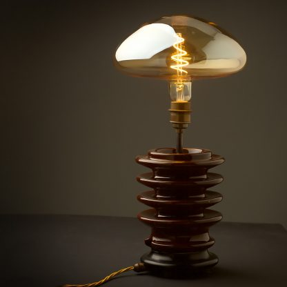 4 Watt dimmable filament LED amber glass mushroom globe