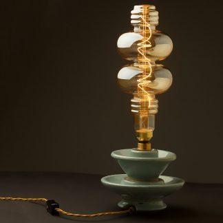 4 Watt dimmable filament LED amber glass two disc globe lamp