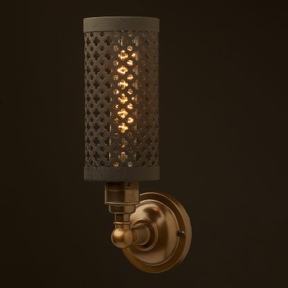 Brass medium bulb club and round upright wall lamp crinkle black