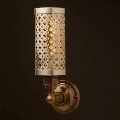 Brass medium bulb club and round upright wall lamp polished steel