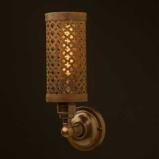 Brass medium bulb club and round upright wall lamp rusty steel