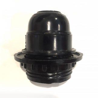 Black plastic shade ring lamp holder Edison E27