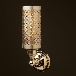 Nickel medium bulb club and round upright wall lamp polished steel