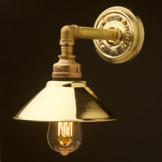 Solid brass straight arm wall light