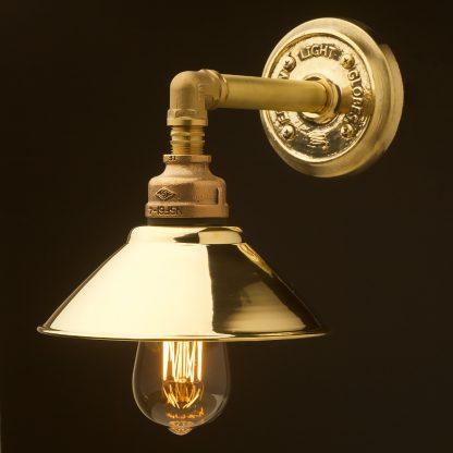 Solid brass straight arm wall light