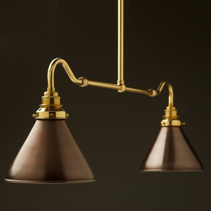New brass single drop small table light bronze cone