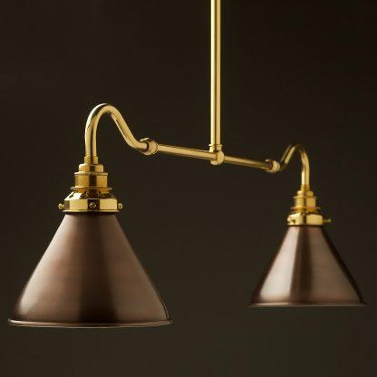 New brass single drop small table light bronze cone