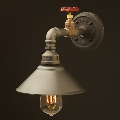 Small shade straight arm tap and wall light rustic steel 190mm