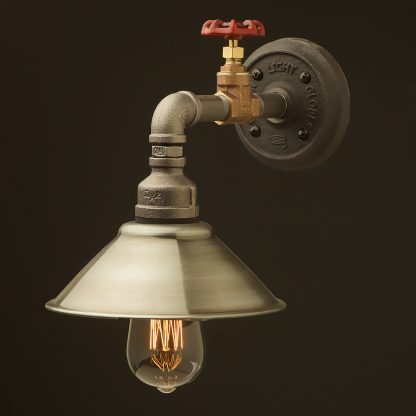 Small shade straight arm tap and wall light antiqued steel 190mm
