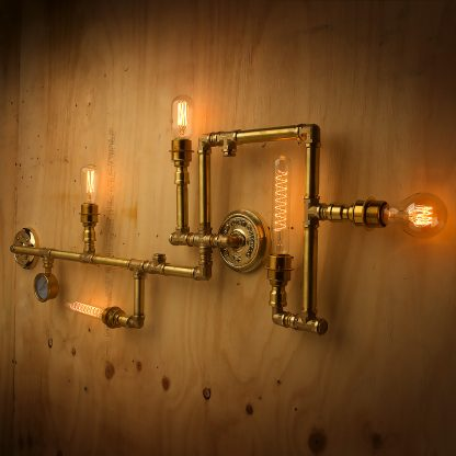 Solid brass plumbing pipe 5 bulb wall feature