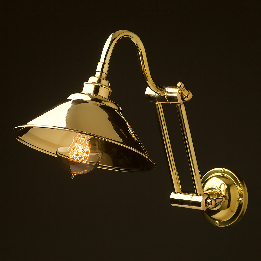 Two Bend Adjule Solid Br Arm Wall Light