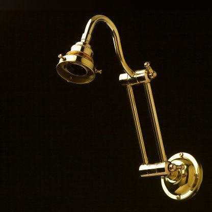 Two bend adjustable solid brass arm wall light no shade