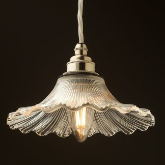 195mm clear petticoat shade pendant nickel