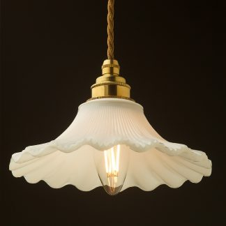 195mm white petticoat shade pendant new brass