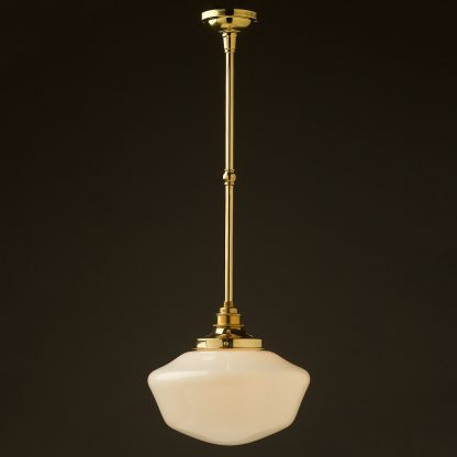 255mm opal glass schoolhouse brass fixed rod light new brass