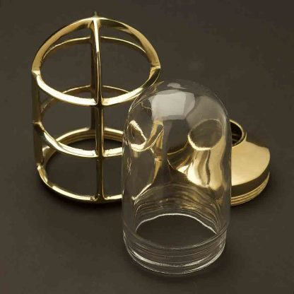 Solid brass water proof light globe cage and glass cover