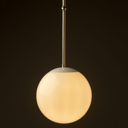250mm neckless opal glass ball brass fixed rod light nickel