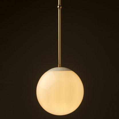 250mm neckless opal glass ball brass fixed rod light polished brass