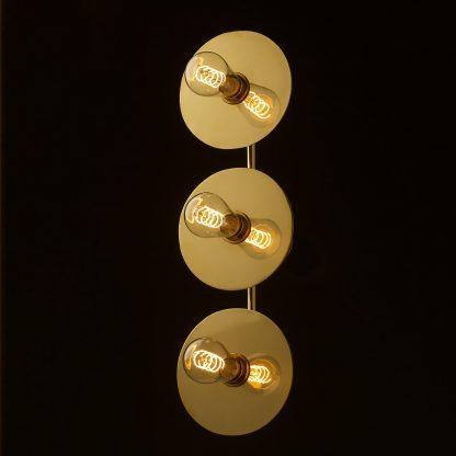 Three globe brass wall mount 180mm disc light Edison LED spiral