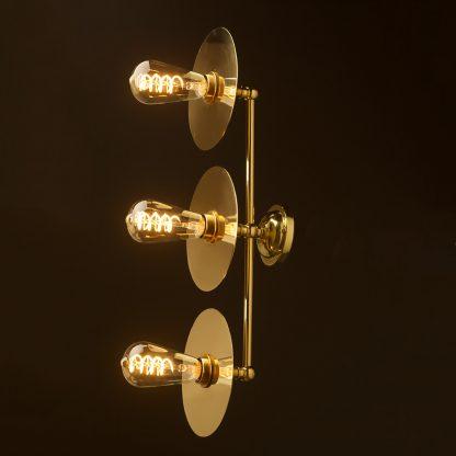 Three globe brass wall mount 180mm disc light Edison LED spiral side