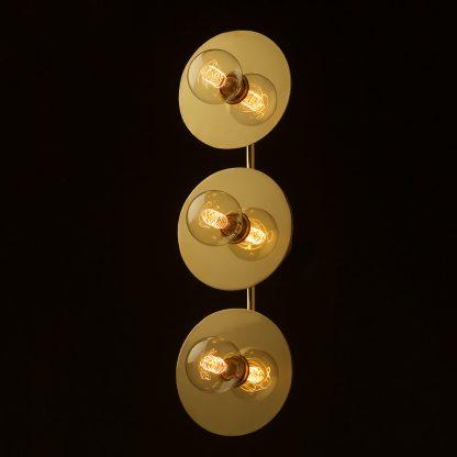 Three globe brass wall mount 180mm disc light G80 spiral