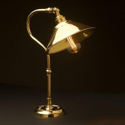 Brass small shade coventry bend bench light 190mm brass