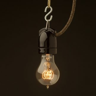 Edison style light bulb E27 Black Side Entry Porcelain pendant