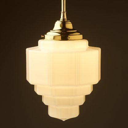 300mm wide Art Deco long opal glass brass fixed rod light