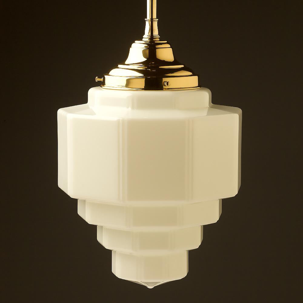 300mm Wide Art Deco Long Opal Gl Br Fixed Rod Light