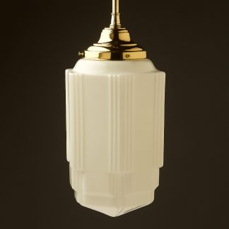400mm tall Art Deco long opal glass brass fixed rod light off
