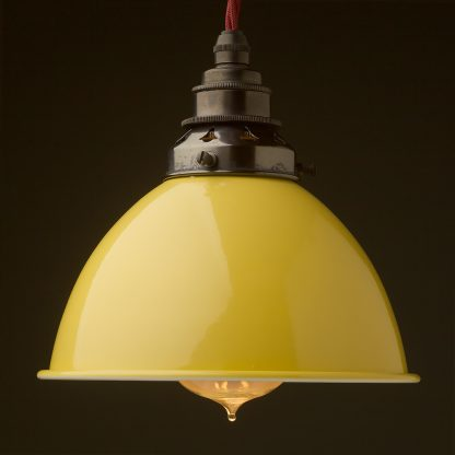 Pale Yellow Enamel Dome E27 Pendant bronze