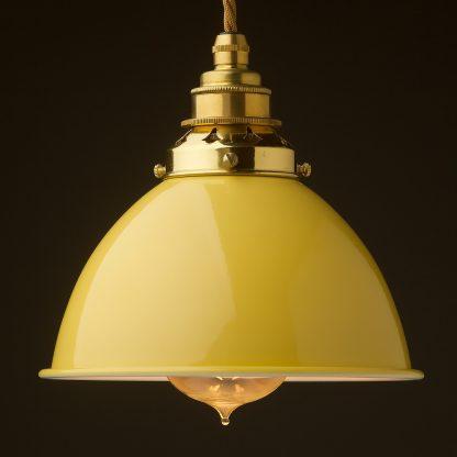 Pale Yellow Enamel Dome E27 Pendant polished brass