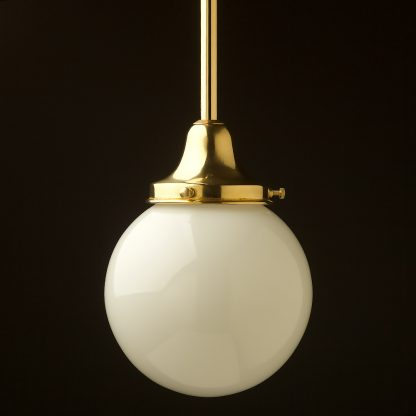 140mm opal glass spherical brass fixed rod light