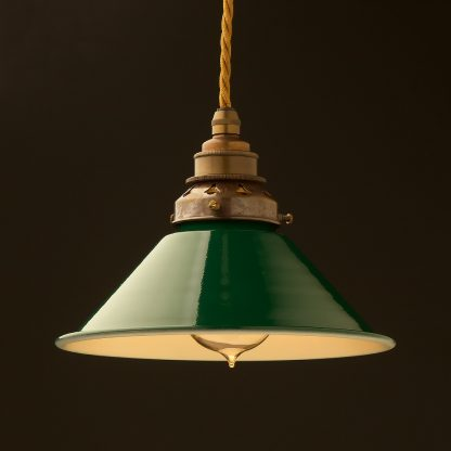 8 inch Green Coolie light shade pendant antique brass