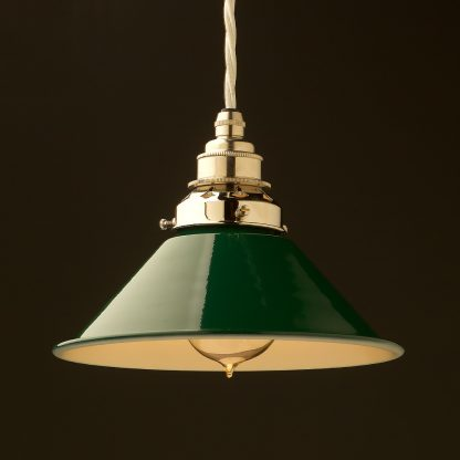 8 inch Green Coolie light shade pendant nickel